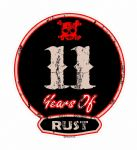 Distressed Aged 11 Years Of Rust Motif For Retro Rat Look VW etc. External Vinyl Car Sticker 100x90mm